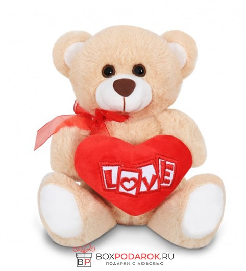 Мягкая игрушка Медведь с красным сердцем 20 см 5005-20 ТМ Коробейники